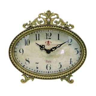 Distressed Ornate Metal Mantel Clock