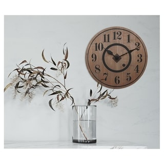 Rustic Round Wooden Wall Clock