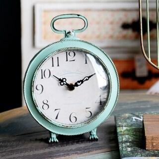 Aquamarine Metal Tabletop Clock With Top Handle