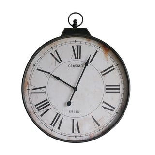 Round Metal Wall Clock with Top Loop