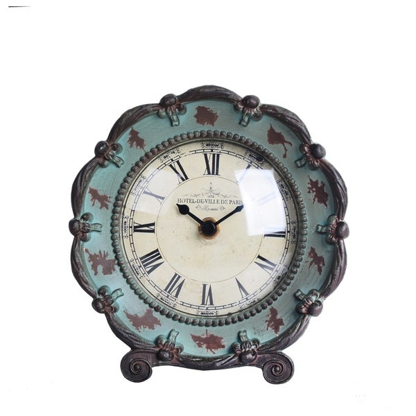Antique Turquoise Pewter Tabletop Clock with Roman Numerals