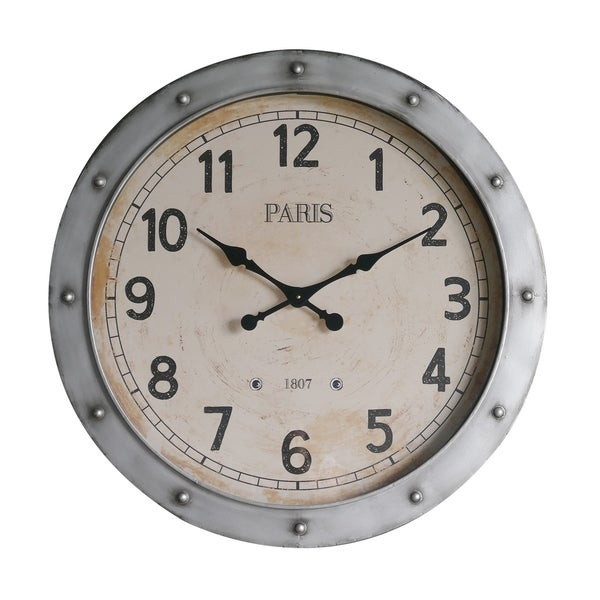 Industrial Style Silver Metal Wall Clock