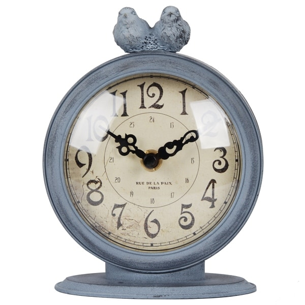 Distressed Pewter Tabletop Clock With Sitting Birds