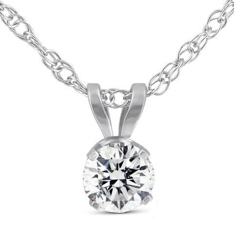 "Pompeii3 14k White Gold 1/2 ct TDW Solitaire Diamond Pendant 18"" Chain Lab Grown Eco Friendly (G-H,VS1-VS2)"