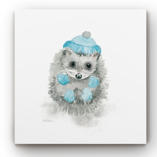 Christmas Critter Hedgehog -Gallery Wrapped Canvas