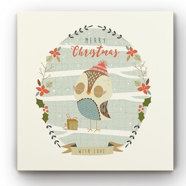 Holly Berry Owl -Gallery Wrapped Canvas