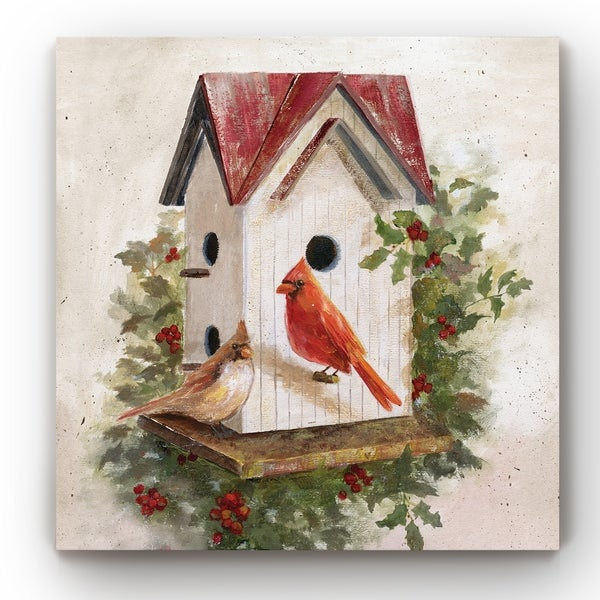 Holly Berry Birdhouse -Gallery Wrapped Canvas