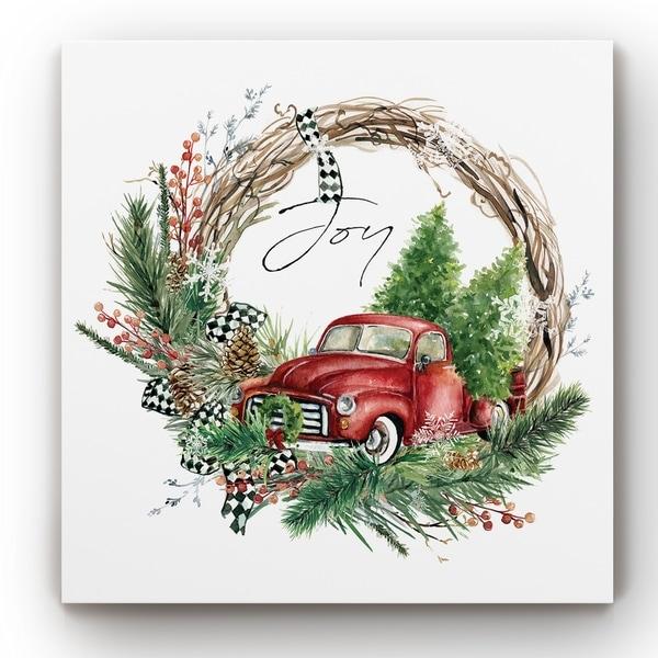 Joy Truck Wreath -Gallery Wrapped Canvas