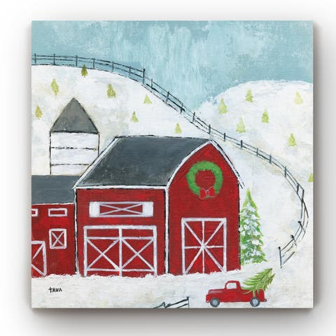 Christmas Barn -Gallery Wrapped Canvas
