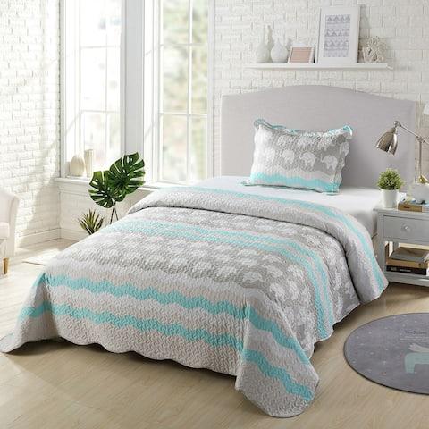 Elephant Kids Quilt Set Bedspread Coverlet Set