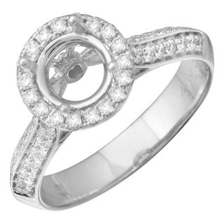 14k White Gold ECOFIRE Created Diamond Semi Mount Engagement Ring 1 2 Cttw E F VS2 SI1
