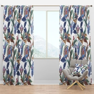 Designart 'Fantasy Flowers Paisley Pattern' Traditional Curtain Panels