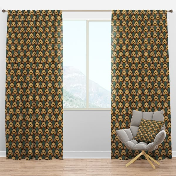 Designart \'Art Deco Pattern\' Modern Curtain Panels