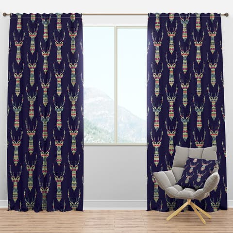 Designart 'Colorful Decorative Ethnic Pattern with Deer' Modern & Contemporary Curtain Panels