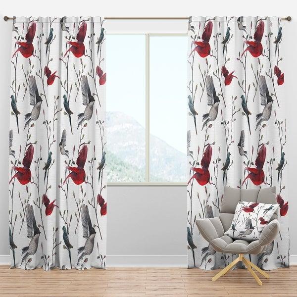 Must Have Farmhouse Kitchen Decor Ideas: Shop Designart 'Pattern With Birds' Farmhouse Curtain