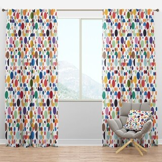 Designart 'Retro Abstract Geometric Pattern' Mid-Century Modern Curtain Panel
