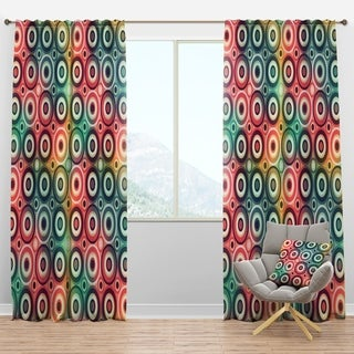 Designart 'Psychedelic Color Circle Pattern' Modern & Contemporary Curtain Panels