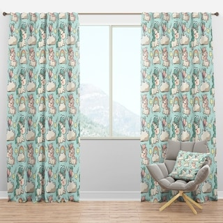 Designart 'Pattern with Cute Unicorns and Clouds' Modern Curtain Panels