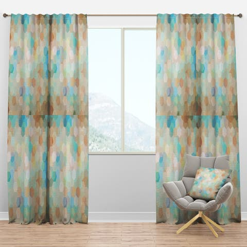 Designart 'Honeycomb Geometry in pastel Colored cluster' Modern & Contemporary Curtain Panels