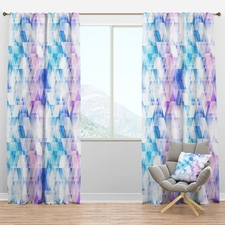 Designart 'Sky Blue Triangle Texture with Grunge Effect' Modern & Contemporary Curtain Panels