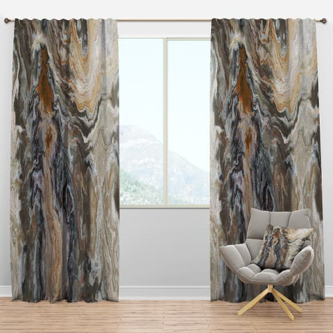 Designart 'Onyx detail Composition' Mid-Century Modern Curtain Panels
