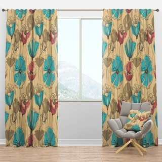Designart 'Retro Drawing Flowers in Pink and Blue' Floral Curtain Panels
