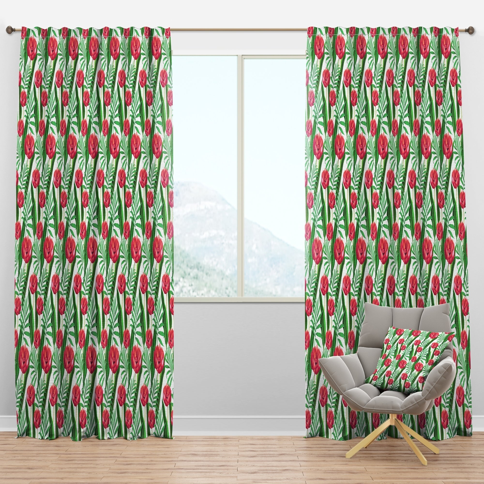 Shop Designart Red Tropical Flowers Floral Curtain Panel Overstock 29625655