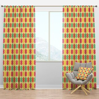 Designart 'Retro Circular Pattern VII' Mid-Century Modern Curtain Panels