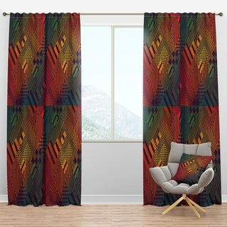 Designart 'Grungy Geometric abstract in Green, Yellow and Blue' Modern & Contemporary Curtain Panels