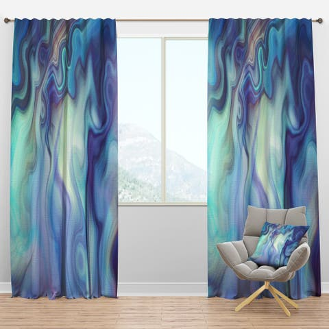 Designart 'Marbled Colours in Shades of Turquoise and Purple' Modern & Contemporary Curtain Panels