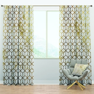 Designart 'Yello and Golden Geometric Cubes' Modern & Contemporary Curtain Panels