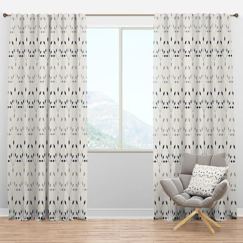 Designart 'Floral Retro Botanical Pattern I' Mid-Century Modern Curtain Panels