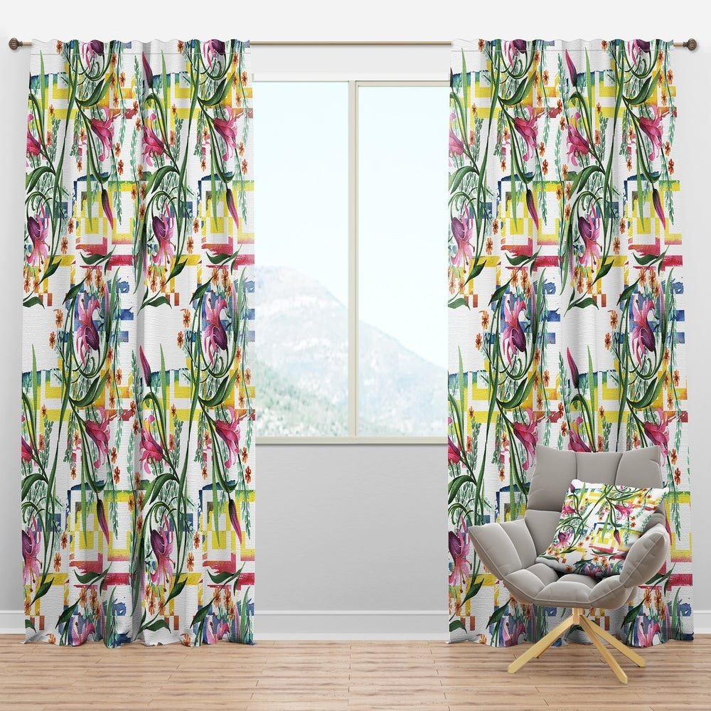 Design Artdesignart Floral Botanical Retro Xi Mid Century Modern Curtain Panel 50 In Wide X 84 In High 1 Panel Dailymail