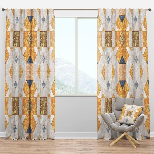 Designart \'Geometric Retro Design I\' Mid-Century Modern Curtain Panels