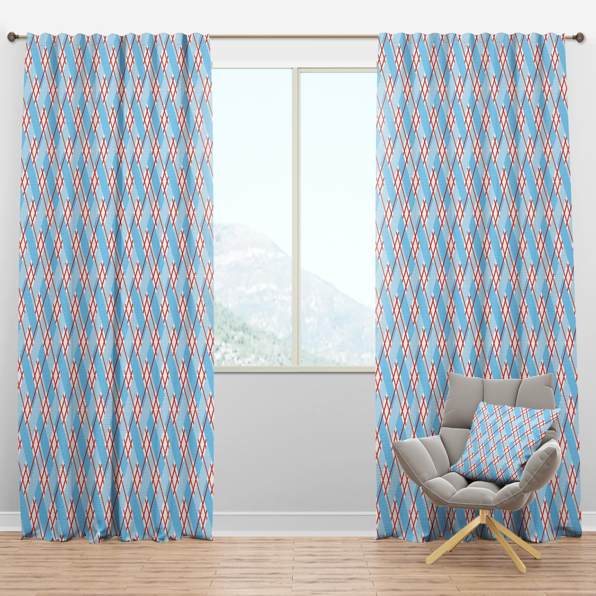 Picture of: Shop Designart Blue And Red Plaid Mid Century Modern Curtain Panel Overstock 29625840