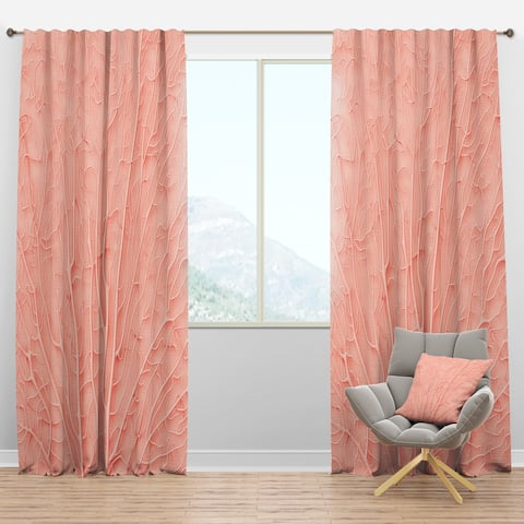 Designart 'Living Coral Pink' Mid-Century Modern Curtain Panels