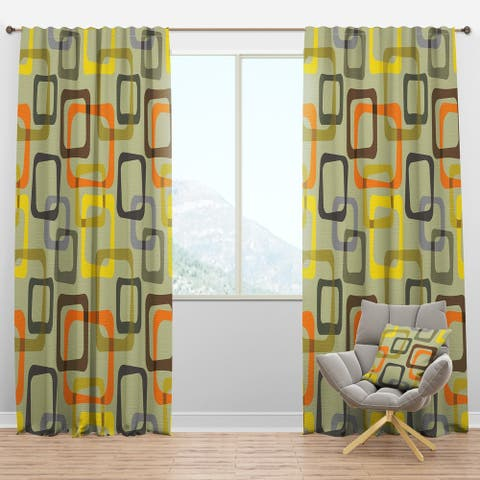 Designart 'Retro Square Design VII' Mid-Century Modern Curtain Panels