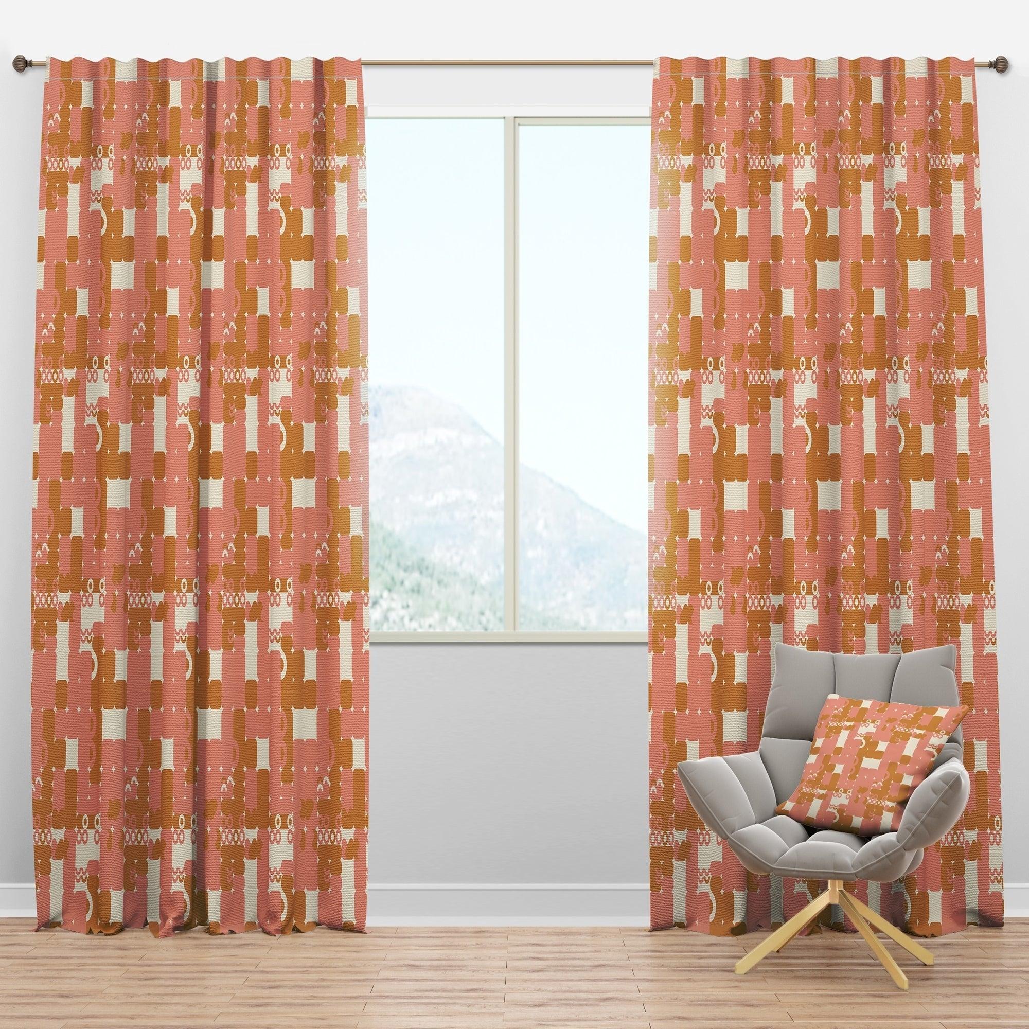 Image of: Shop Designart Pink Retro Abstract Design Mid Century Modern Curtain Panels Overstock 29625980