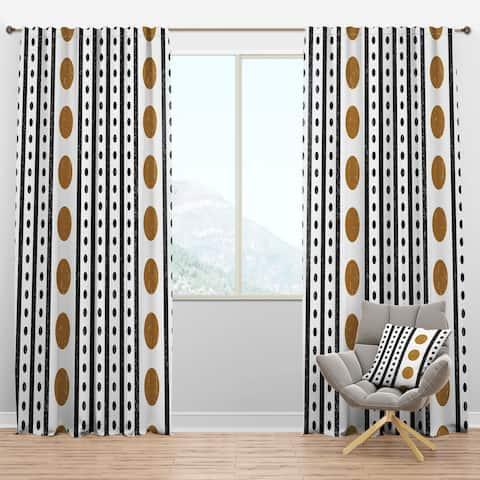Designart 'Retro Geometrical Abstract Minimal Pattern VII' Mid-Century Modern Curtain Panels