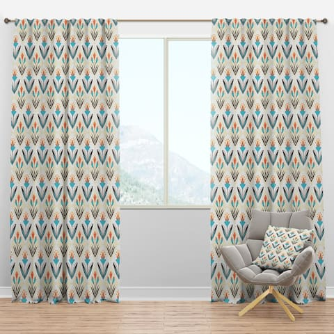Designart 'Pattern with floral ornament' Mid-Century Modern Curtain Panels