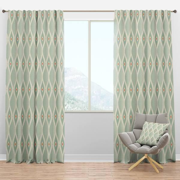 Designart \'Retro Abstract Drops VII\' Mid-Century Modern Curtain Panels