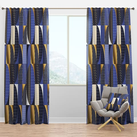 Designart 'Retro Luxury Waves In Gold And Blue IV' Mid-Century Modern Curtain Panels