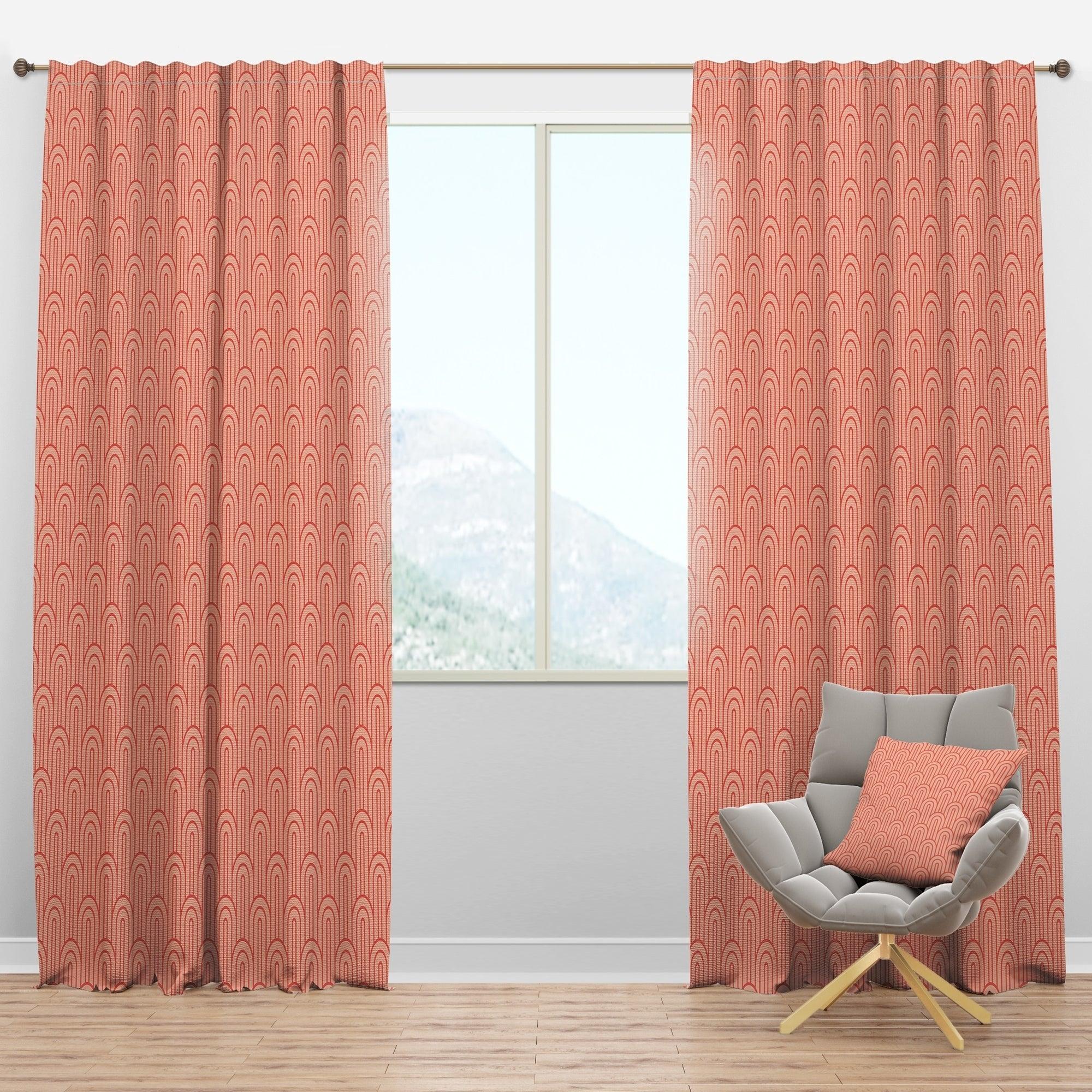 Designart Retro Art Deco Waves Ii Mid Century Modern Curtain Panels