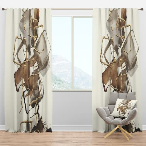 Designart 'Gold Glam Squares III' Modern & Contemporary Curtain Panels