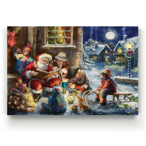 Story Time Santa -Gallery Wrapped Canvas