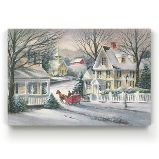 Village Sleigh Ride  -Gallery Wrapped Canvas