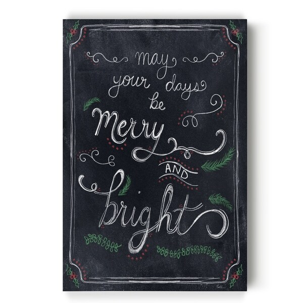 Merry and Bright Chalk -Gallery Wrapped Canvas