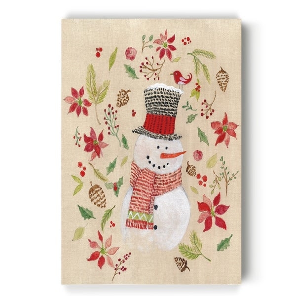 Holly Days Snowman -Gallery Wrapped Canvas