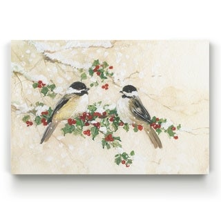 Chickadees and Holly  -Gallery Wrapped Canvas