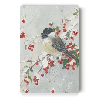 Holly Berries and Chickadee  -Gallery Wrapped Canvas